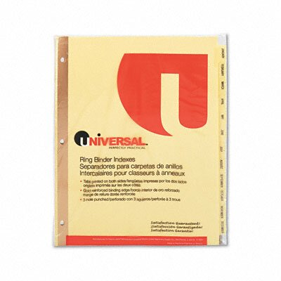 Universal® Preprinted Plastic-Coated Tab Dividers, 12/Set