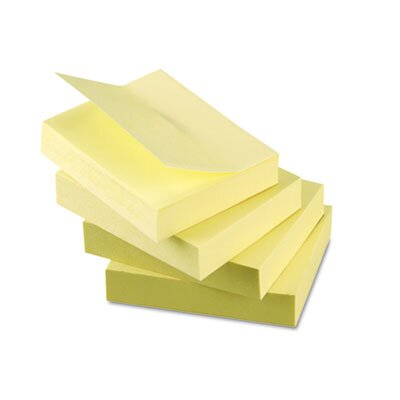 Universal® Recycled Sticky Notes, 1.5 X 2, Yellow; 12 100-Sheet Pads/Pack