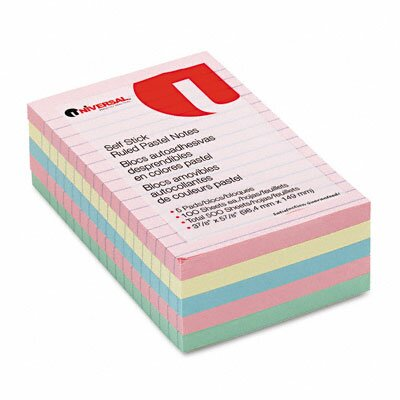 Universal® Self-Stick Notes, 5 100-Sheet Pads/Pack