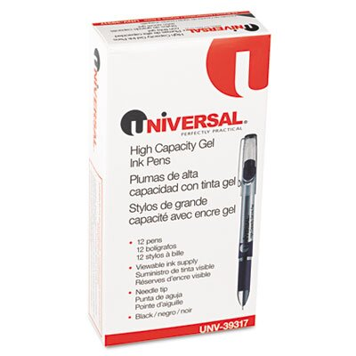 Universal® High Capacity Roller Ball Stick Gel Pen, 12/Pack