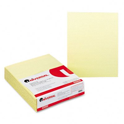 Universal® Glue Top Writing Pads, Narrow Rule, Letter, 50 Sheets, 12-Pack, Canary or White