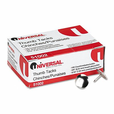 "Universal® Nickel-Plated Thumb Tacks, 5/16"" Point, Silver, 100 per Pack"