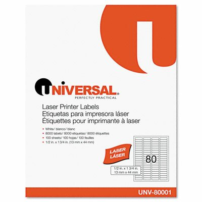 Universal® Laser Printer Permanent Labels, 8000/Box