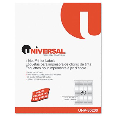Universal® Inkjet Printer Labels, 2000/Pack