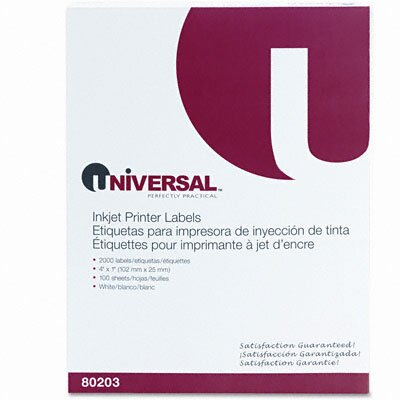 Universal® Inkjet Printer Labels, 2000/Box
