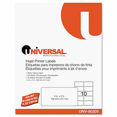 Universal® Inkjet Printer Labels, 250/Pack