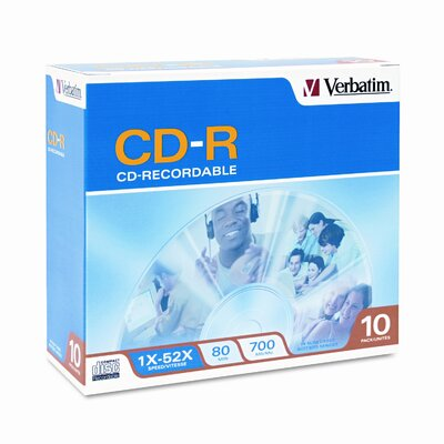 Verbatim Corporation CD-R Discs, 700MB/80min, 52x, with Slim Jewel Cases, Silver, 10/Pack