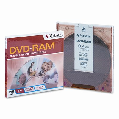Verbatim Corporation Type 4 Double-Sided Dvd-Ram Cartridge, 9.4Gb, 3X