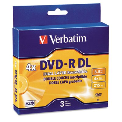 Verbatim Corporation Dual-Layer Dvd-R Discs, 8.5Gb, 4X, 3/Pack