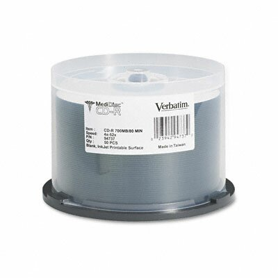 Verbatim Corporation Spindle Medical Grade Cd-R Discs, 700Mb/80Min, 52X, 50/Pack
