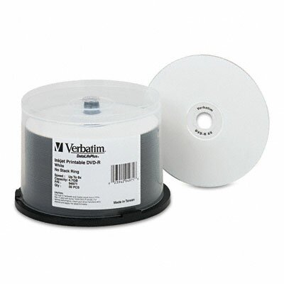 Verbatim Corporation Inkjet Printable Spindle Dvd-R Discs, 4.7Gb, 8X, 50/Pack