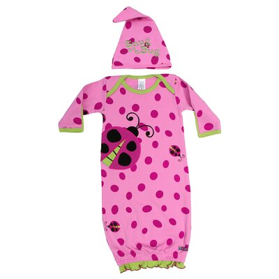 Snug as a Bug Gown and Cap Set in Pink