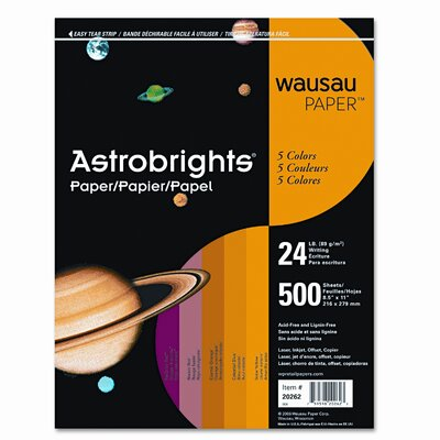Wausau Papers AstroBright Color Laser/Inkjet Paper, Warm Colors, 24lb, Letter, 500 Sheets