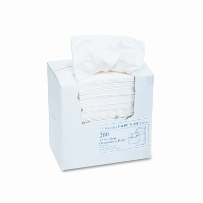 Webster Industries Draw 'N Tie Heavy-Duty Trash Bags, 13Gal, .9 Mil, 24.5 X 27 3/8, 200/Box