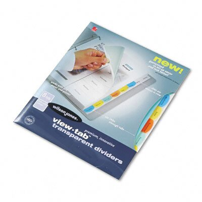 Wilson Jones View-Tab Transparent Index Dividers, 8-Tab, Square, Letter