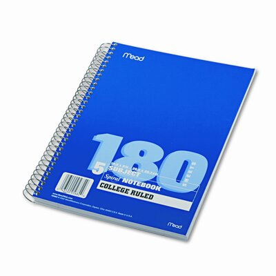 Mead Spiral Bound Notebook, College Rule, 8 x 10-1/2, White