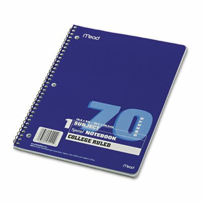 Mead Spiral Bound Notebook, College Rule, 8 X 10-1/2, 1 Subject 70 Sheets/Pad