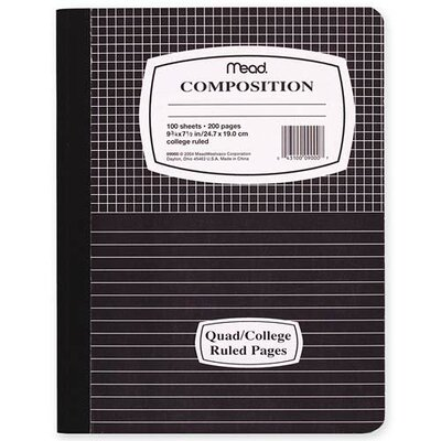 "Mead Composition Book, Special Ruled, 100 Sheets, 9-3/4""x7-1/2"", Blue/ME"
