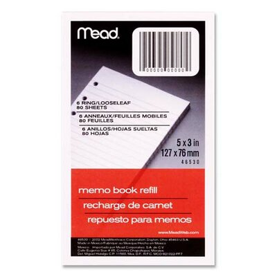 "Mead Memo Book Refill, Narrow Ruled, 6 Hole Punched, 5""x3"", 80 Sheets, White"