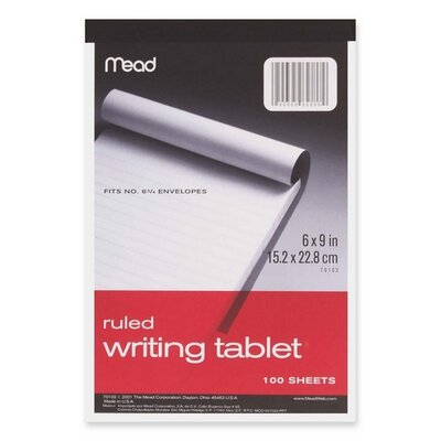 """Mead Writing Tablet,Top-bound,Ruled,20 lb.,6""""x9"""",100 Sh,White"""