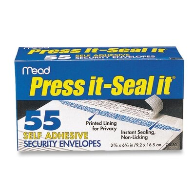 Mead Press-It Seal-It Security Envelope, 3 5/8 X 6 1/2, 20 Lb, 55/Box