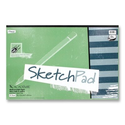 "Mead Sketch Pad, Medium Weight, 18""x12"", 50 Sheets, White"