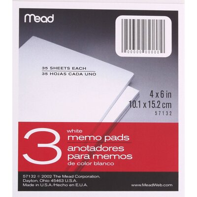 """Mead 4"""" x 6"""" Memo Pad (3 Count)"""