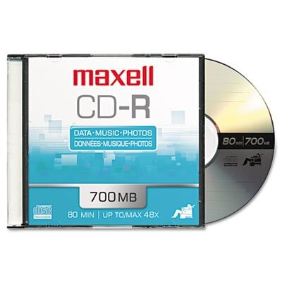 Maxell Corp. Of America Cd-R Discs, 700Mb/80Min, 48X, 10/Pack
