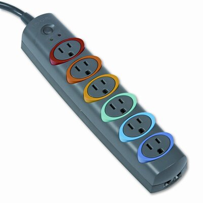 Kensington SmartSockets Color-Coded Strip Surge Protector, 6 Outlets, 7ft Cord