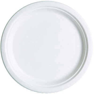 "Eco-Products, Inc Compostable 10"" Sugarcane Dinnerware Plate in Natural White"