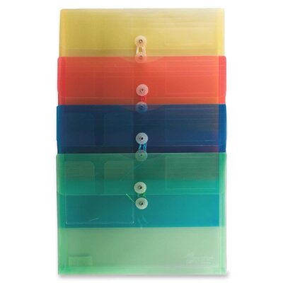 Anglers Company Ltd. String & Button Closure Poly Envelopes, Side Opening, Ltr, 4/PK, Asst