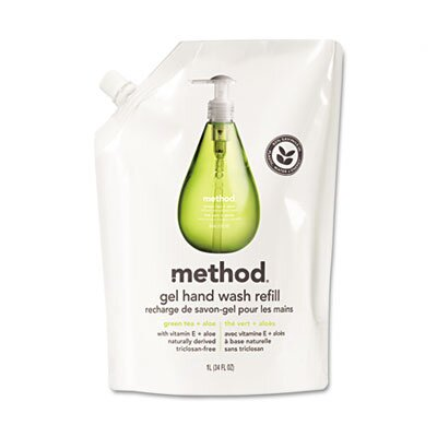 Method® Refill for Gel Handwash, 34 oz. Plastic Pouch, Green Tea & Aloe