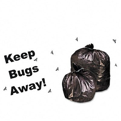 Stout Insect-Repellent Trash Bags, w/Pest-Guard, 45 gal, 2mil, 40 x 45, Black, 65/Ctn