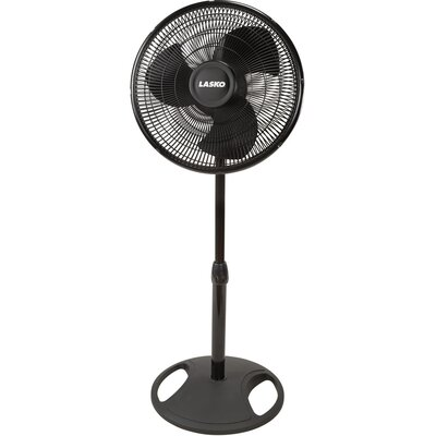 "Lasko 16"" Oscillating Stand Fan in Black"