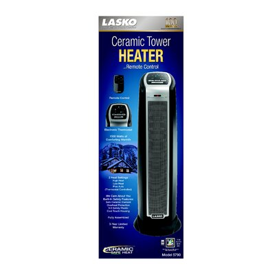 Lasko 1,500 Watt Ceramic Tower Electric Space Heater with Remote Control