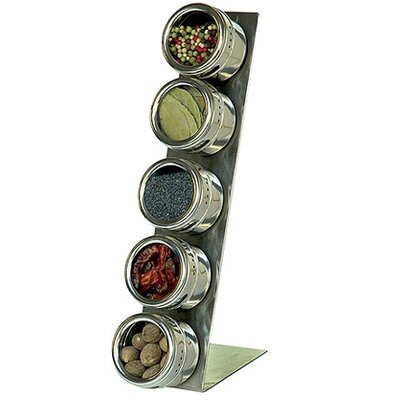 Lipper International Soho 5-Piece Stainless Steel Container and L-Stand Set