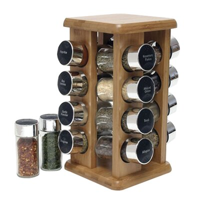 Lipper International Bamboo 16 Bottle Spice Rack