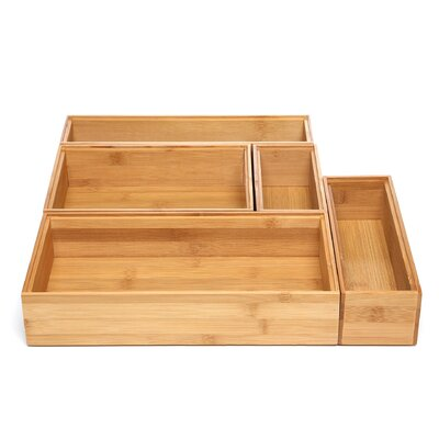 Lipper International Bamboo 5 Piece Organization Box Set