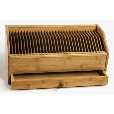 Lipper International Bamboo Monthly Bill / Invoice Organizer with Drawer