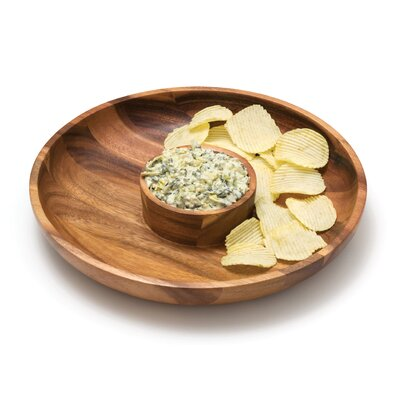 Lipper International Acacia Serveware Round Chip and Dip Platter