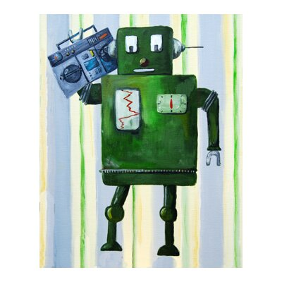 CiCi Art Factory Patchwork Donka Loves 80s Music Robot Canvas Print by Liz Clay