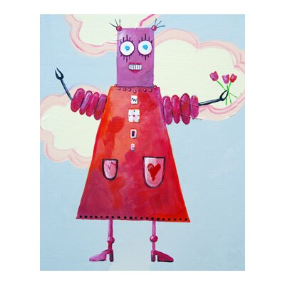 CiCi Art Factory Patchwork Zorba Loves Flowers Robot Canvas Print by Liz Clay