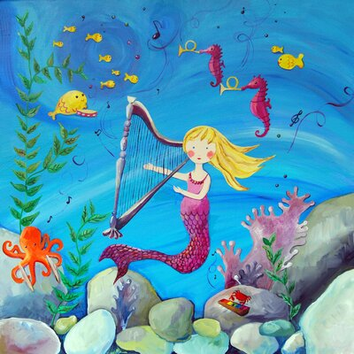 CiCi Art Factory Wit and Whimsy Blonde Haired Mermaid Giclee Canvas Print by Liz Clay