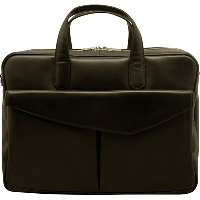 Aaron Irvin Sienna Leather Double Laptop Briefcase