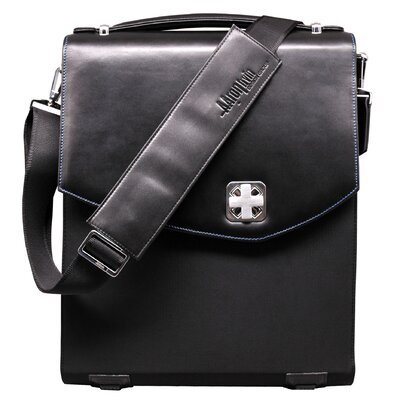 Textured Nylon Vertical Messenger Bag in Black