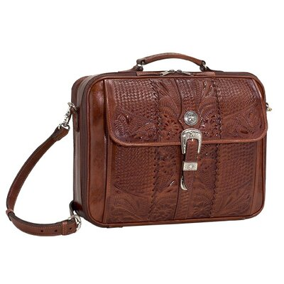 American West Retro Romance Travel Leather Laptop Briefcase