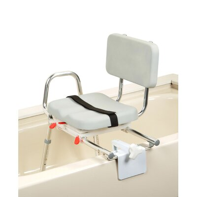 Eagle Health Tub Mount X-Short Transfer Bench with Padded Swivel Seat and Back