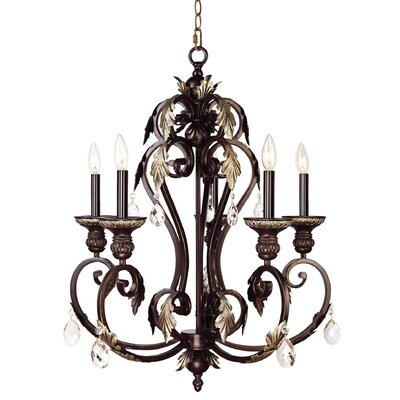 Iron and Crystal Chandelier in Hand Rubbed Bronze with Antique Silver Accents