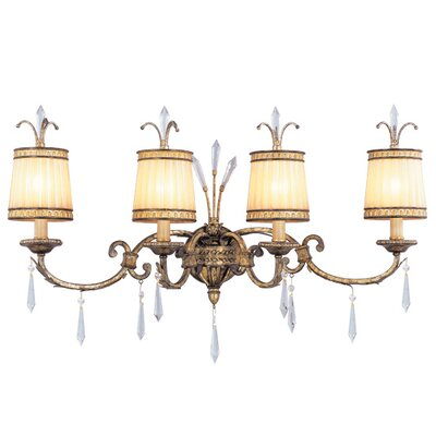 Livex Lighting La Bella Four Light Vanity Light in Vintage Gold Leaf