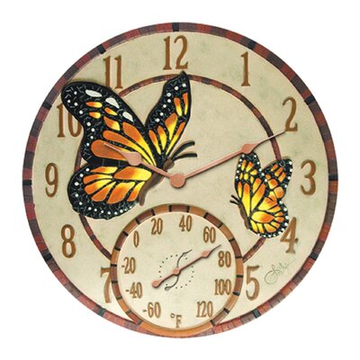 Mosaic Butterflies Clock with 14